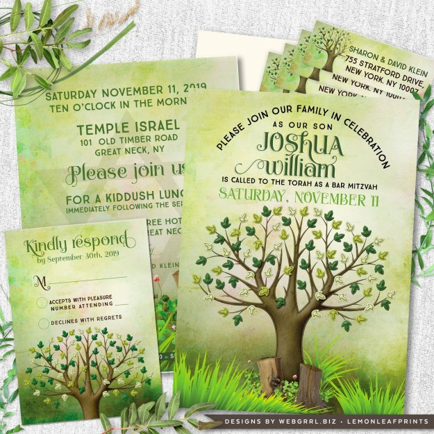Green Brown Tree of Life Bar Mitzvah Invitation Set