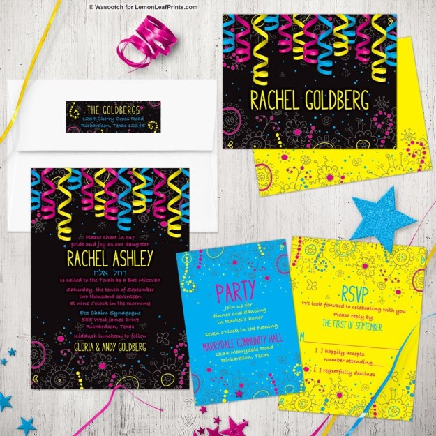 Neon glow party Bat Mitzvah invitation set