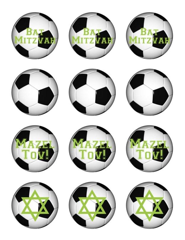 Free printable Soccer Bat Mitzvah cupcake toppers
