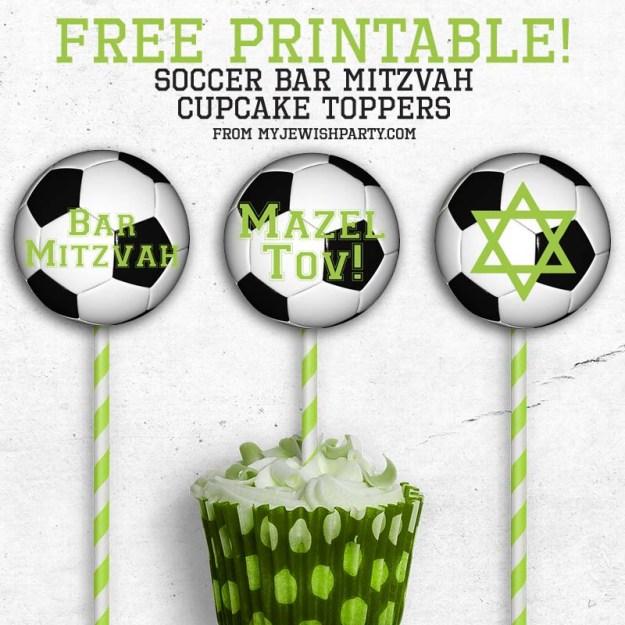 free printable soccer Bar Mitzvah cupcake toppers mockup