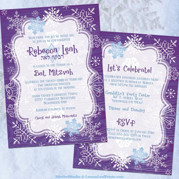 Purple blue whimsical snowflake winter Bat Mitzvah invitation front and back