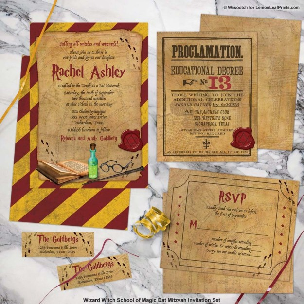Wizarding World School of Magic Bat Mitzvah invitation set