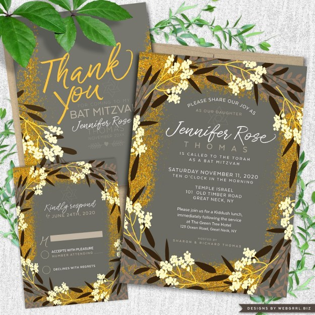 Modern gold grey and ivory earthy floral bat mitzvah invitation set