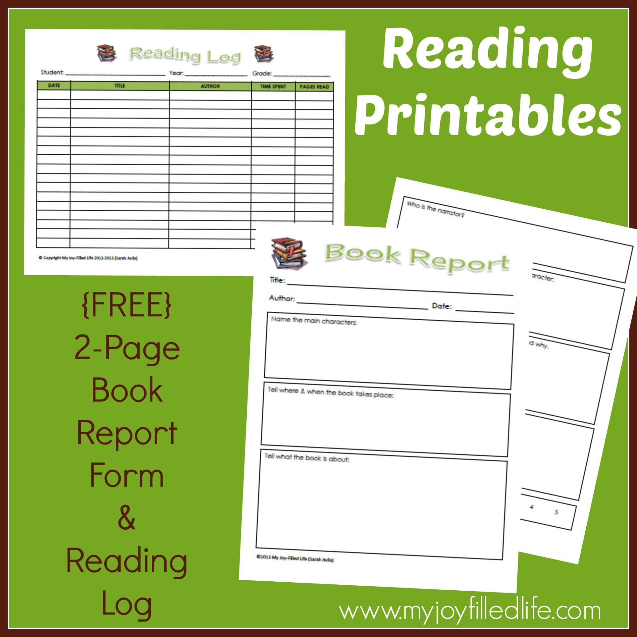 Free Reading Log Amp Book Report Form