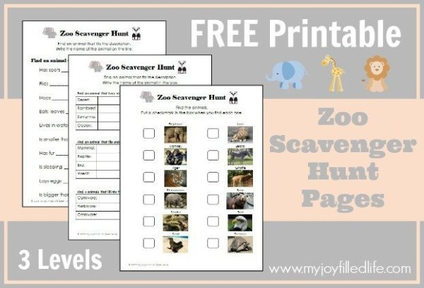 FREE Printable Zoo Scavenger Hunt Pages