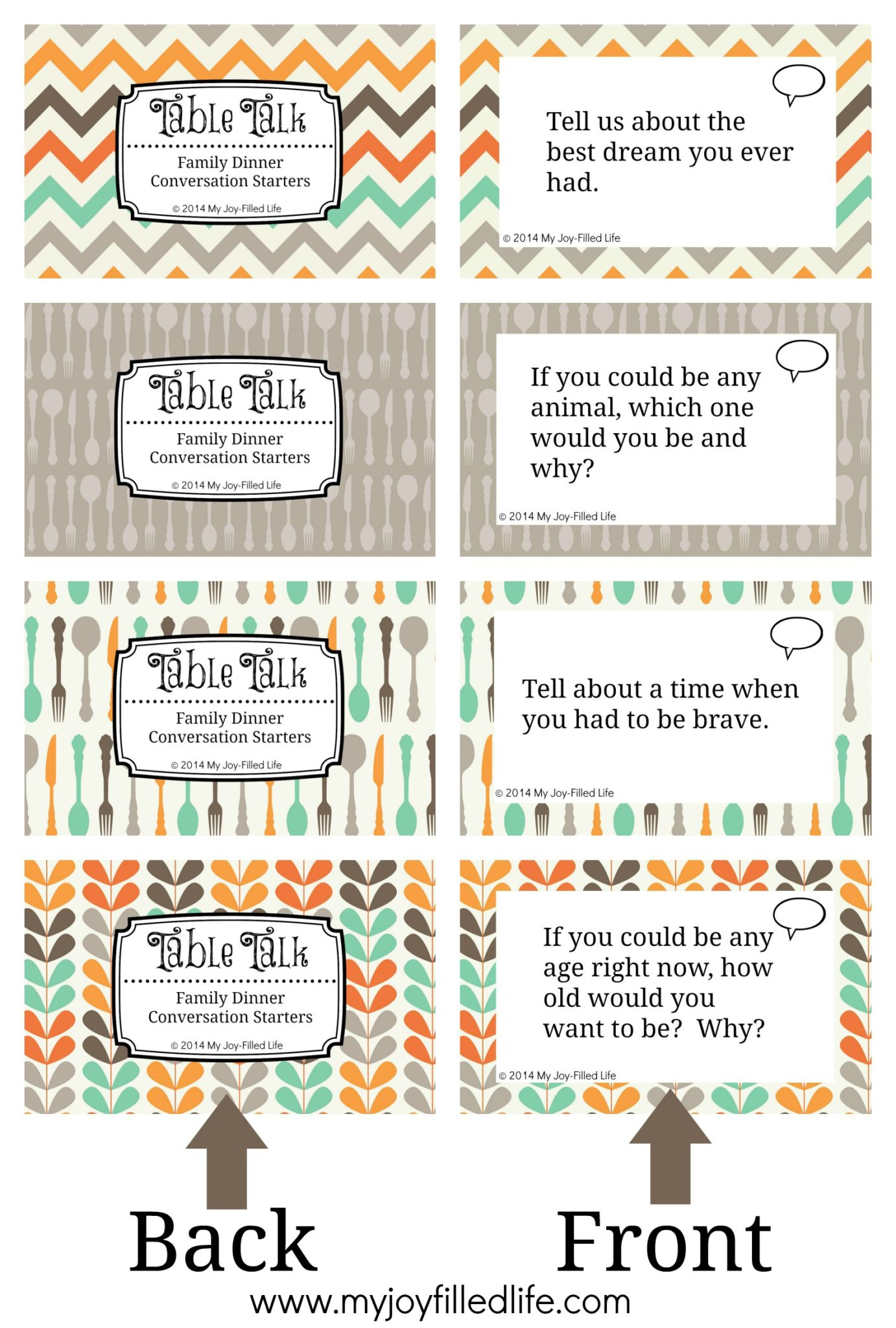 Printable Family Dinner Conversation Starters Cards