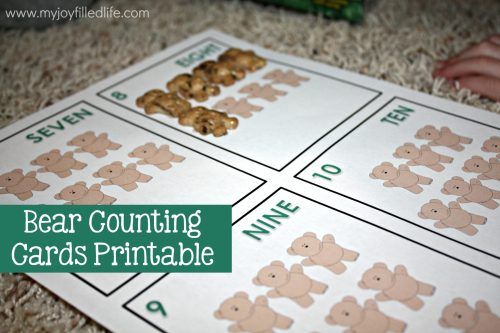 Bear Counting Cards Printable