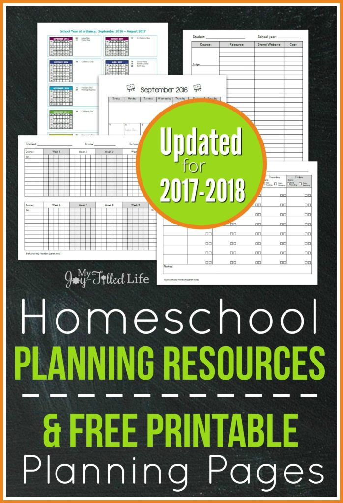 Homeschool Planning Pages 2017