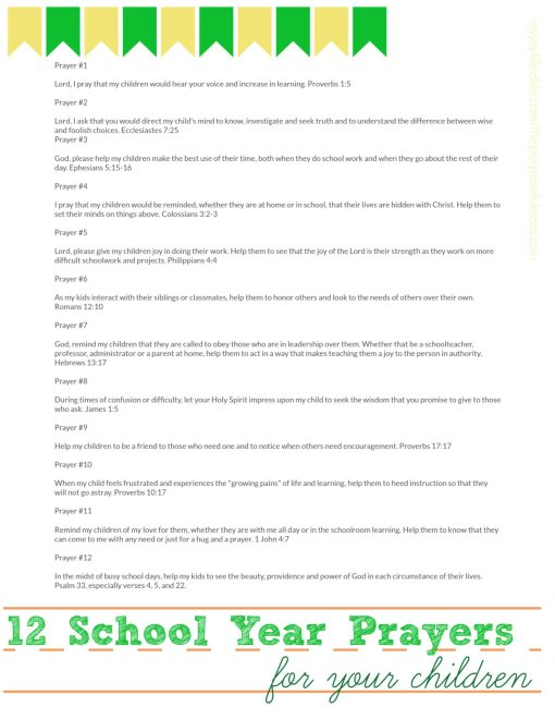 12 Prayers for Your Child's School Year free printable