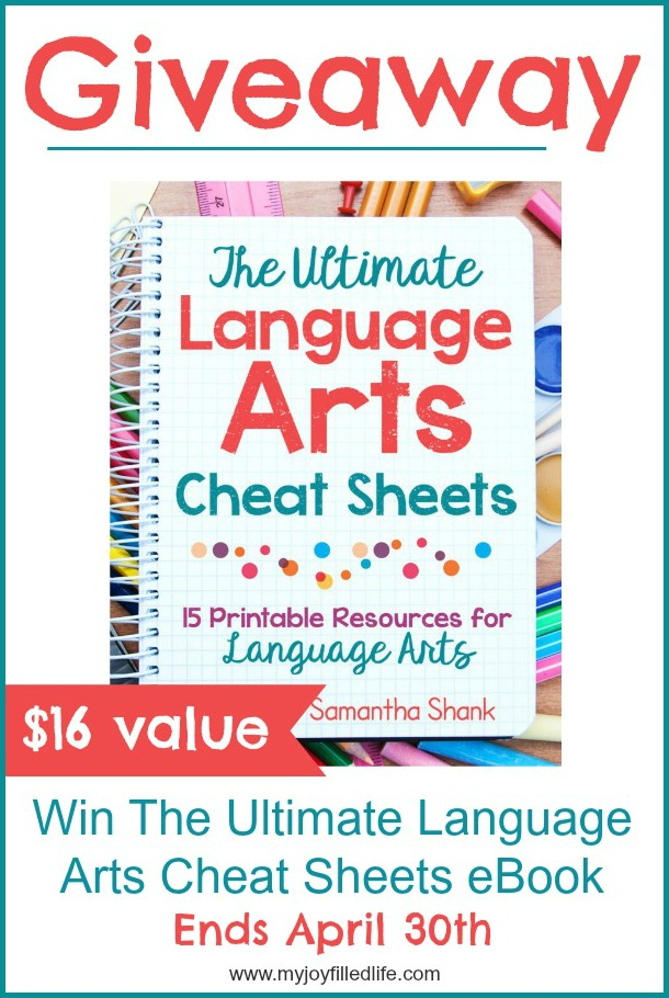 Enter to win The Ultimate Language Arts Cheat Sheets eBook; ends 4/30