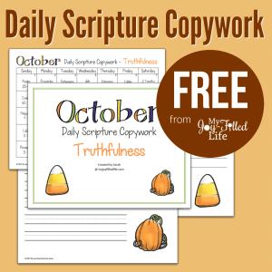 Daily Scripture Copywork Calendar for October