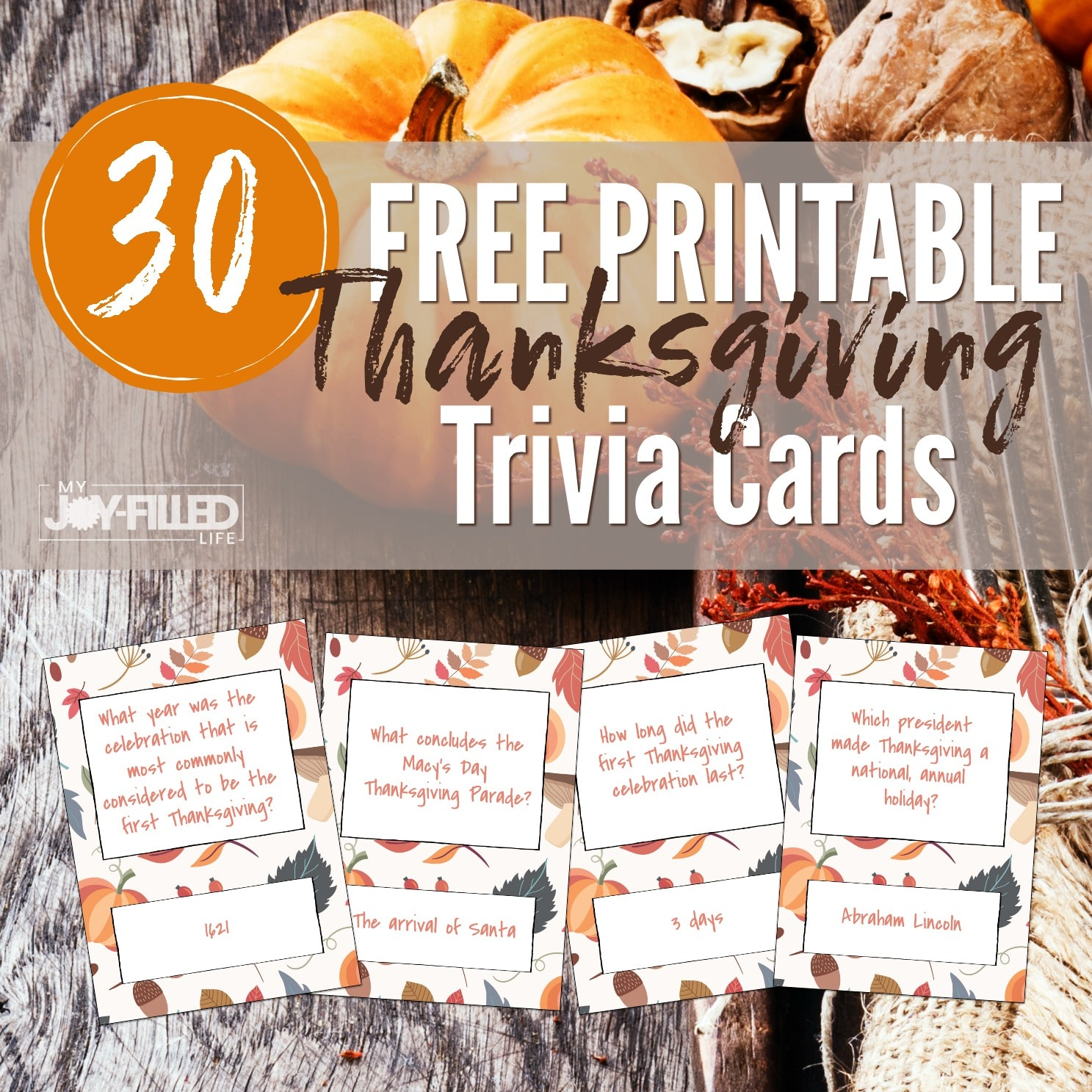Printable Thanksgiving Trivia Cards