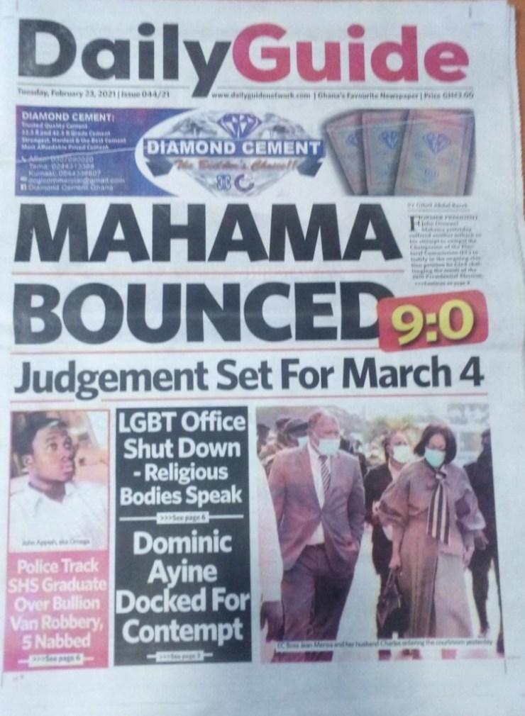 Newspaper headlines of Tuesday, February 23, 2021 13