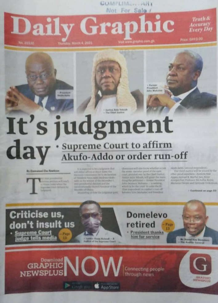 Newspaper headlines of Thursday, March 4, 2021 1