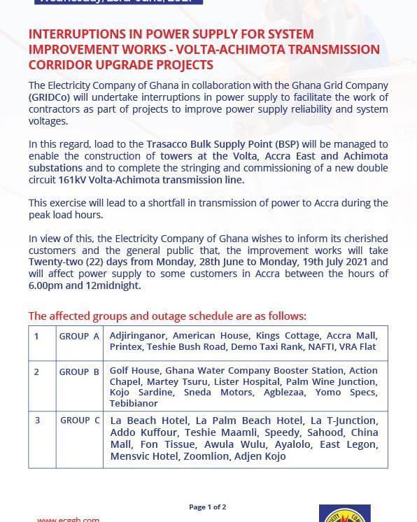 ECG announces 22 days of 'dumsor' in parts of Accra