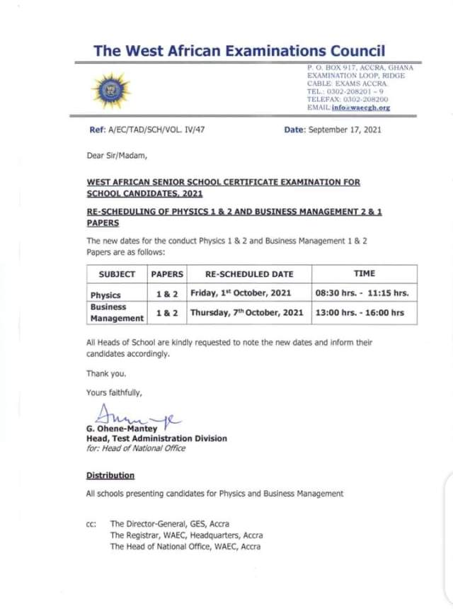 WASSCE 2021: Physics and Business Management papers scheduled for October 1 and 7 respectively - WAEC