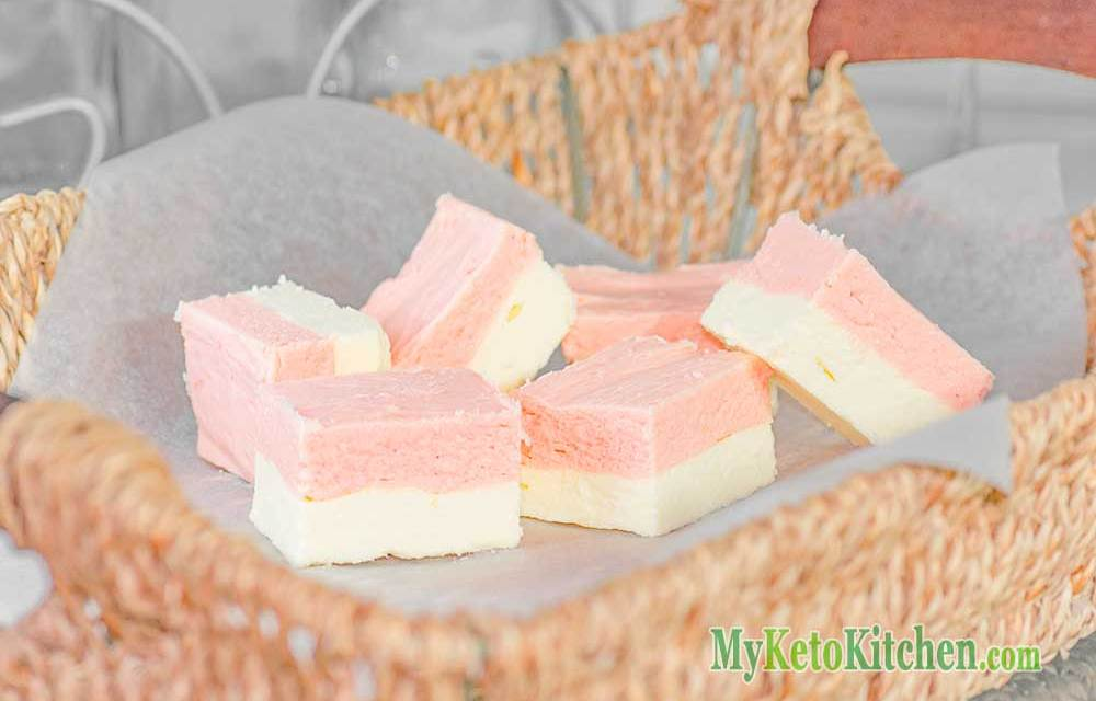 Vanilla Fat Bombs – Topped With Strawberry Fudge