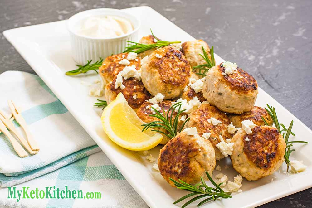 Low Carb Chicken Feta Meatballs