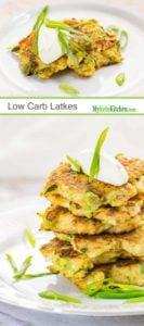 Low Carb Latkes - Keto Cauliflower Pancakes (Gluten Free, Grain Free, Vegetarian)