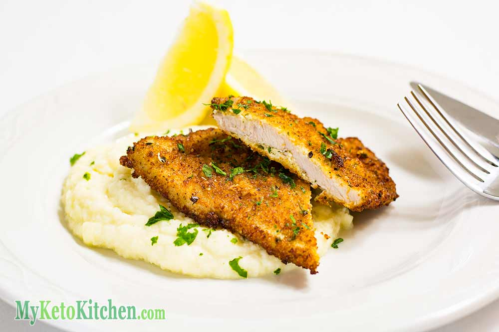 Low Carb Parmesan Herb Pork Schnitzels
