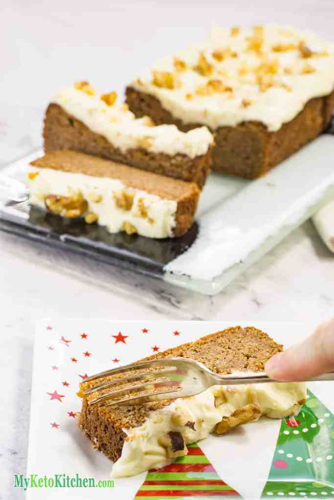Low carb, keto frosted gingerbread loaf recipe