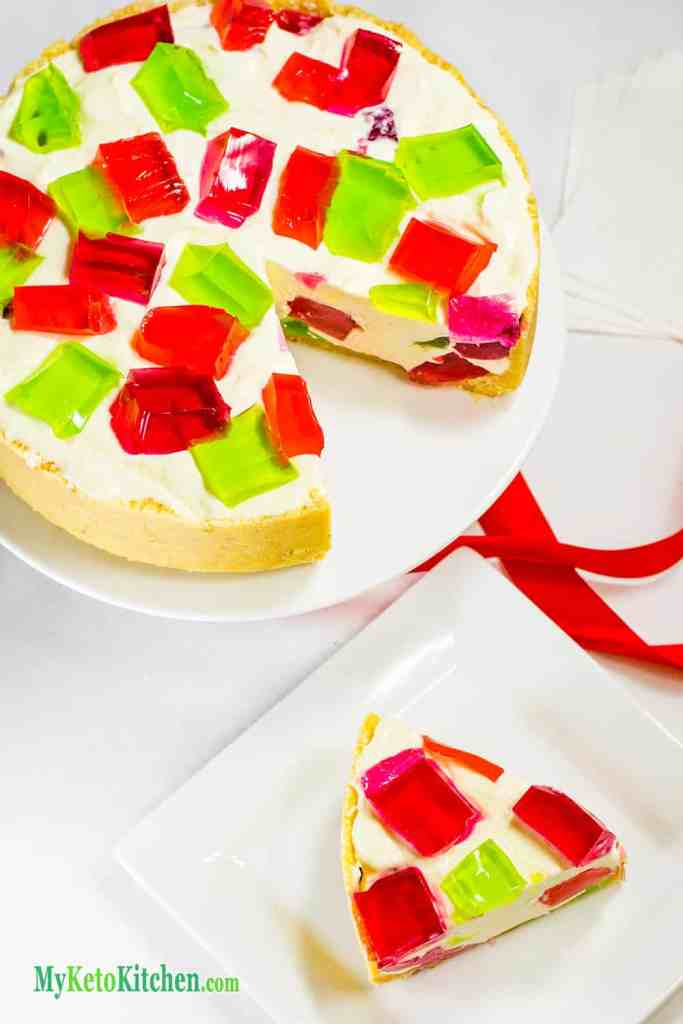 No Bake Sugar Free Jello Chunk Cheesecake