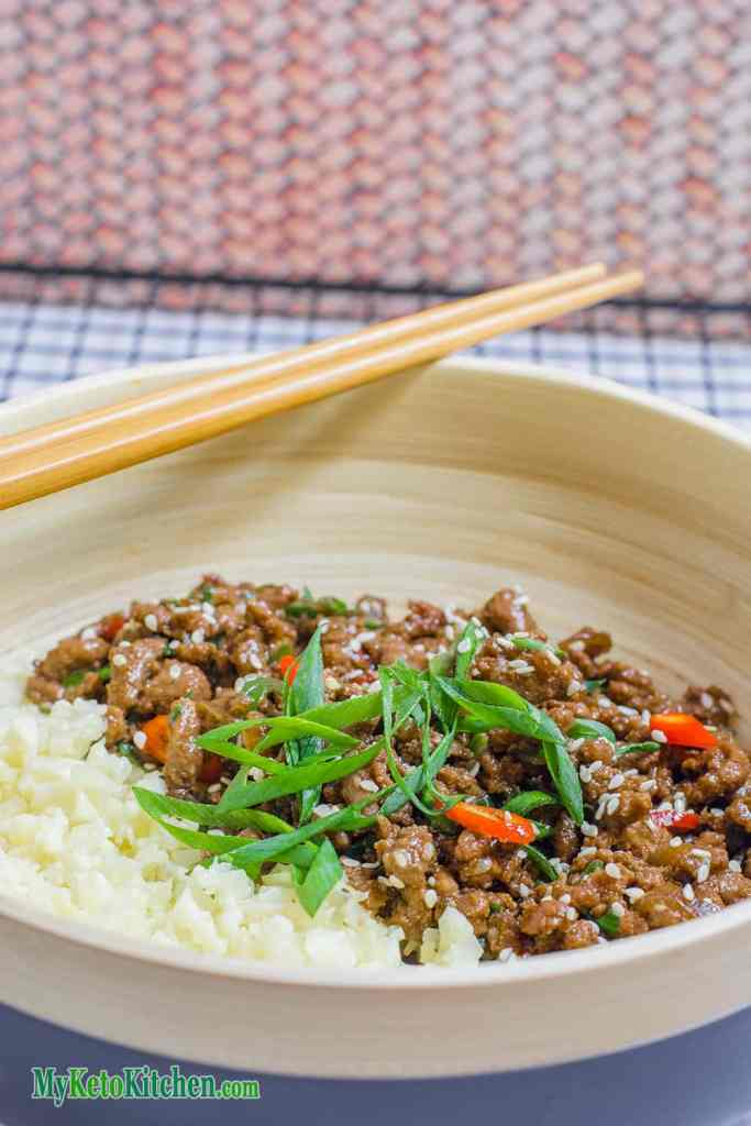 Sticky Korean Stir Fry Keto Ground Beef Recipe
