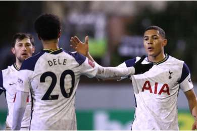 Marine 0-5 Tottenham: Vinicius hat-trick and history for Devine as Spurs sail through