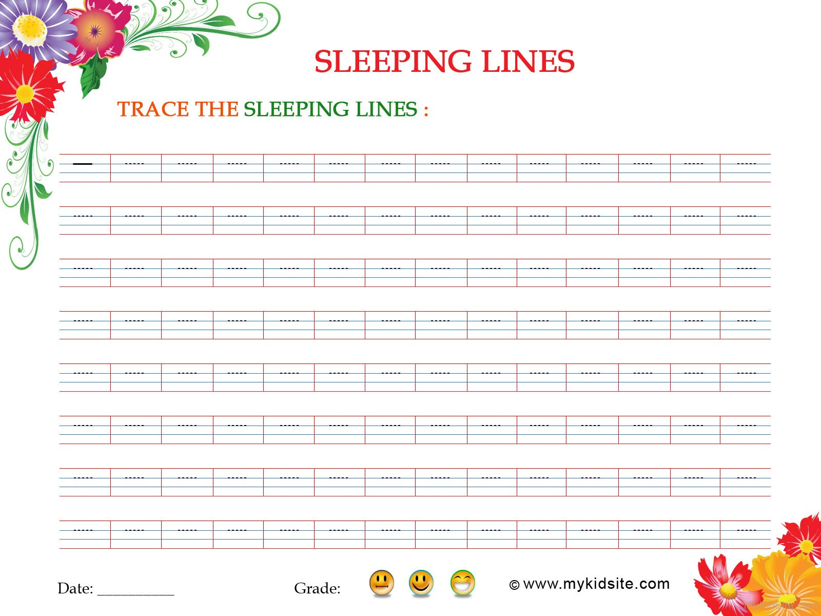 Sleeping Lines Worksheet