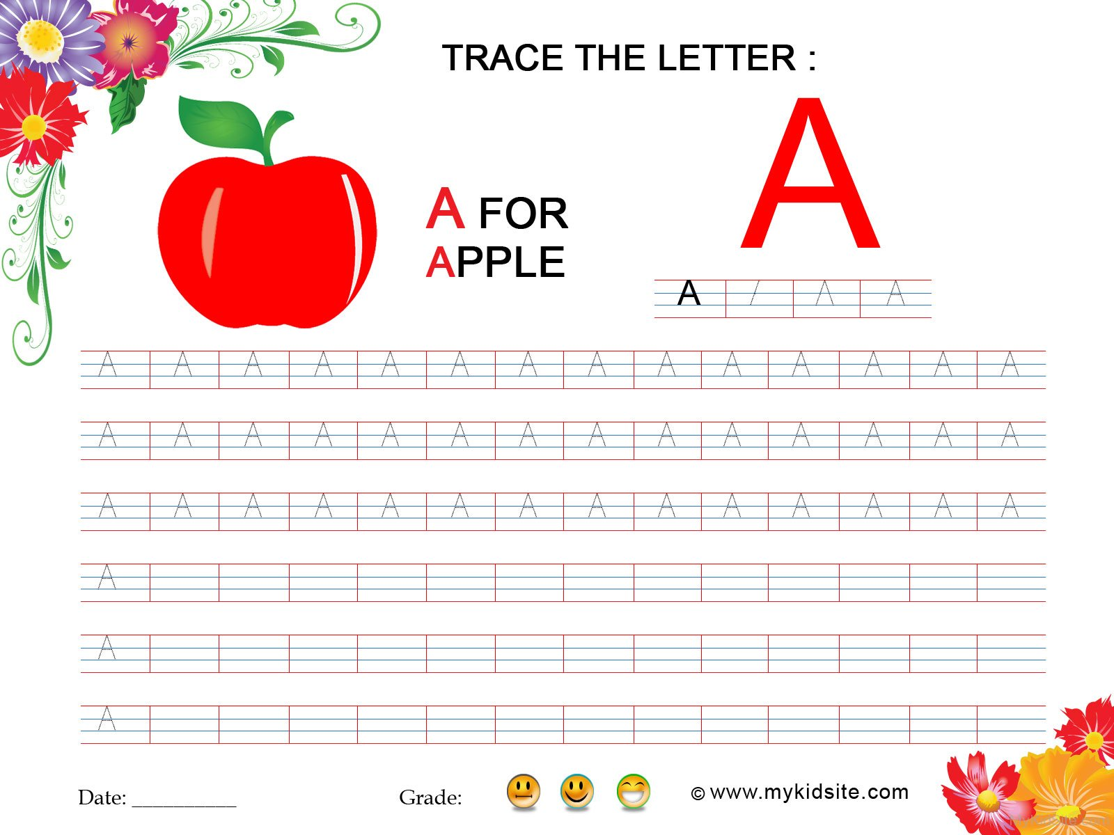 Tracing Worksheet For Letter A