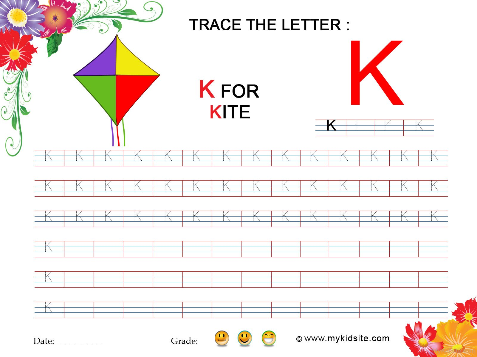 Tracing Worksheet For Letter K