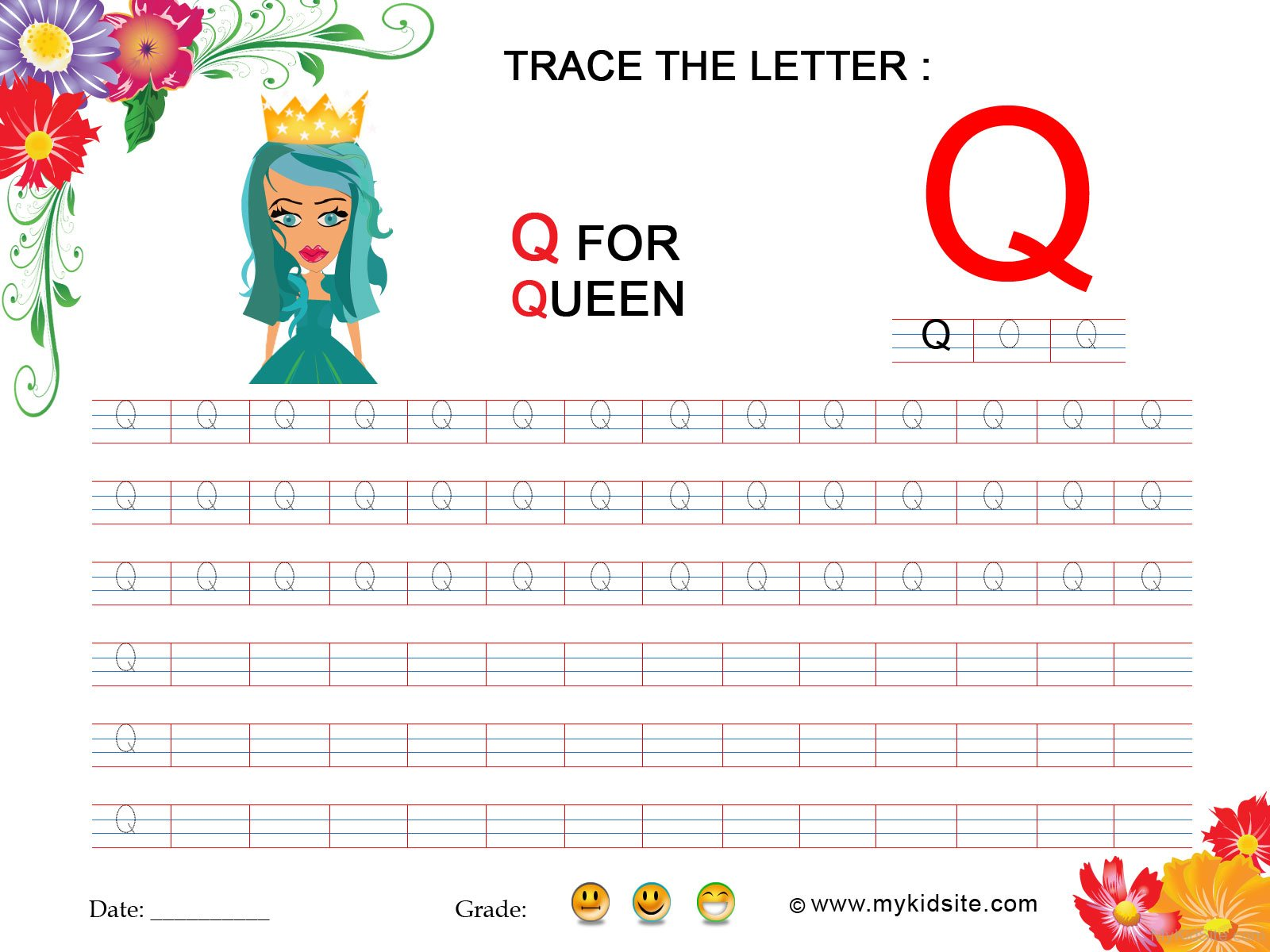 Tracing Worksheet For Letter Q