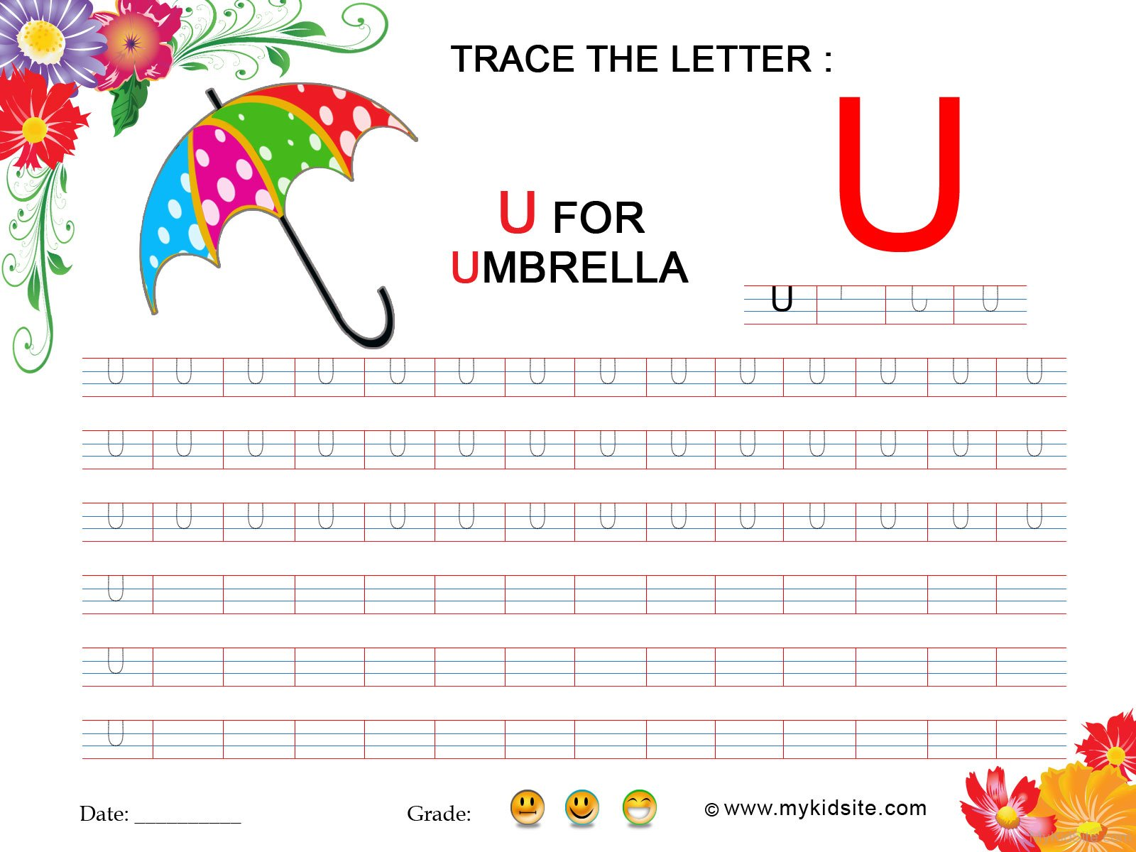 Kidzone Worksheet Letter U