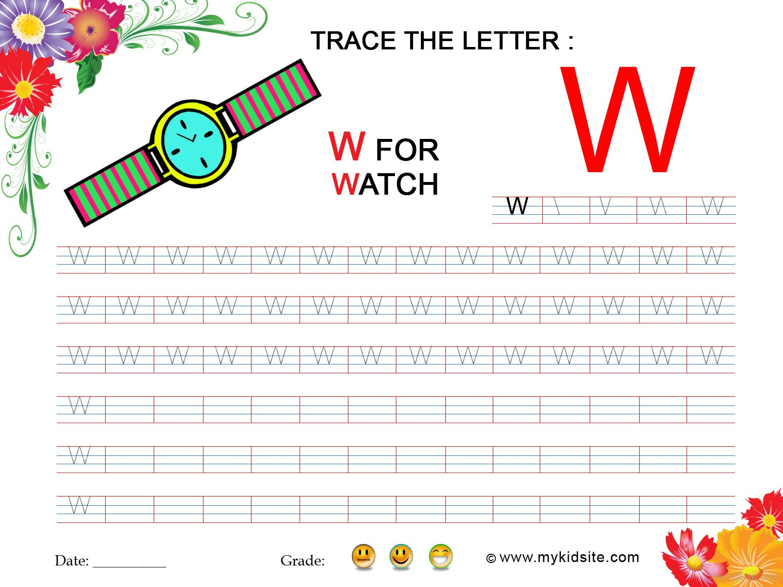 Tracing Worksheet For Letter W