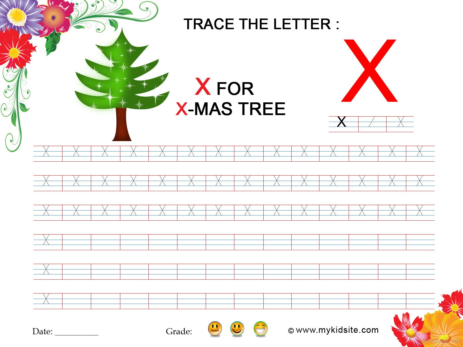 Tracing Worksheet For Letter X