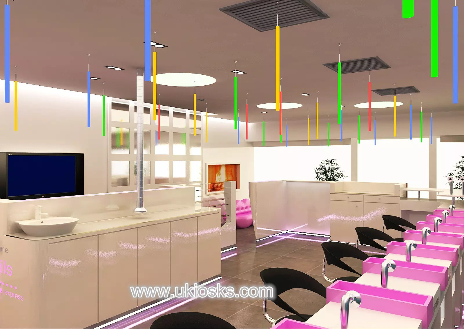 Elegant Beauty Salon Furniture With Nail Bar For UK