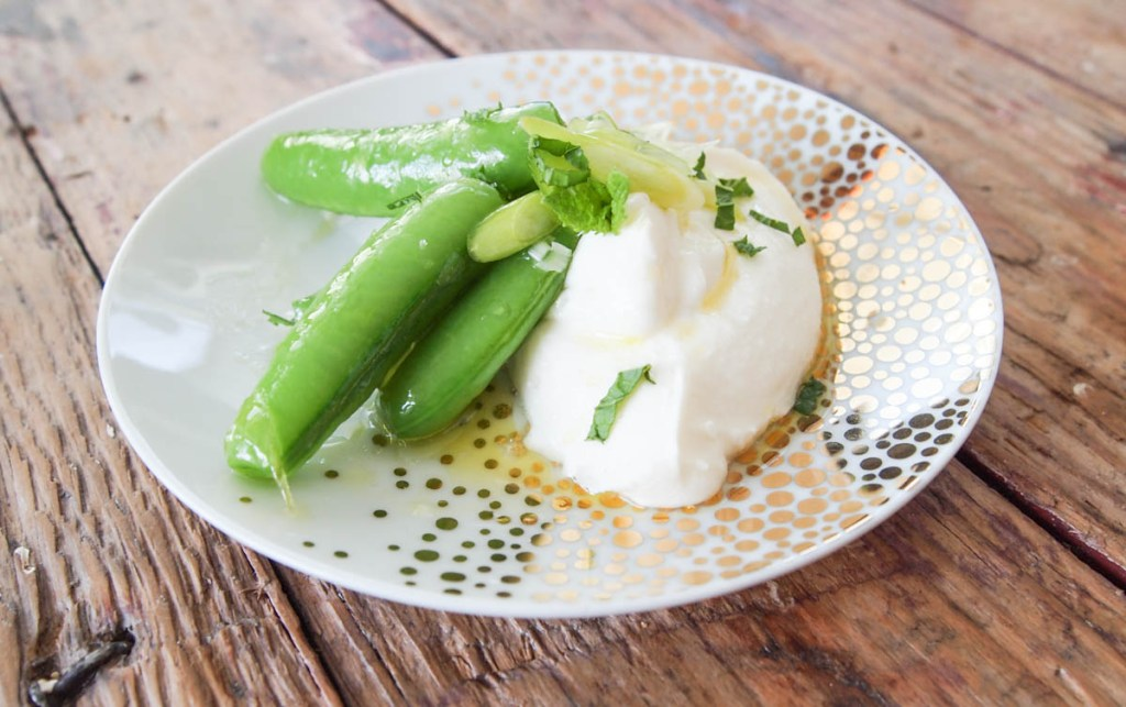 Sugar Snap Peas with Mint and Whipped Ricotta | My Kitchen Love