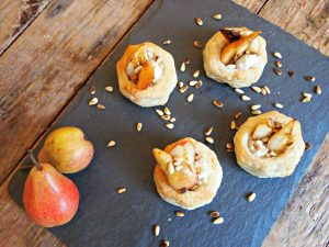 My Kitchen Love Blog - Pear and Goat Cheese Puffed Pastries