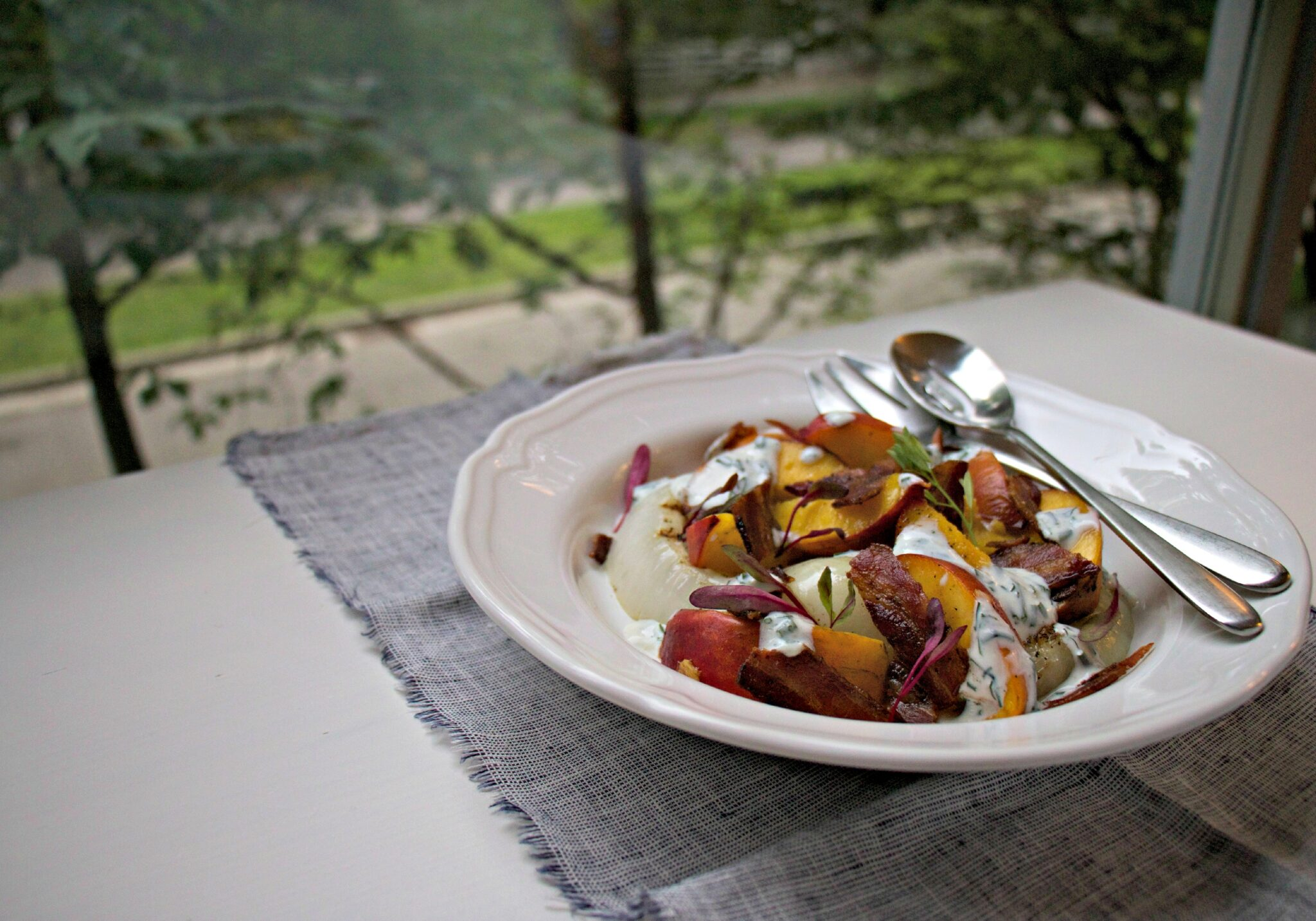Grilled Peaches and Onion Salad with Buttermilk Dressing - My Kitchen Love
