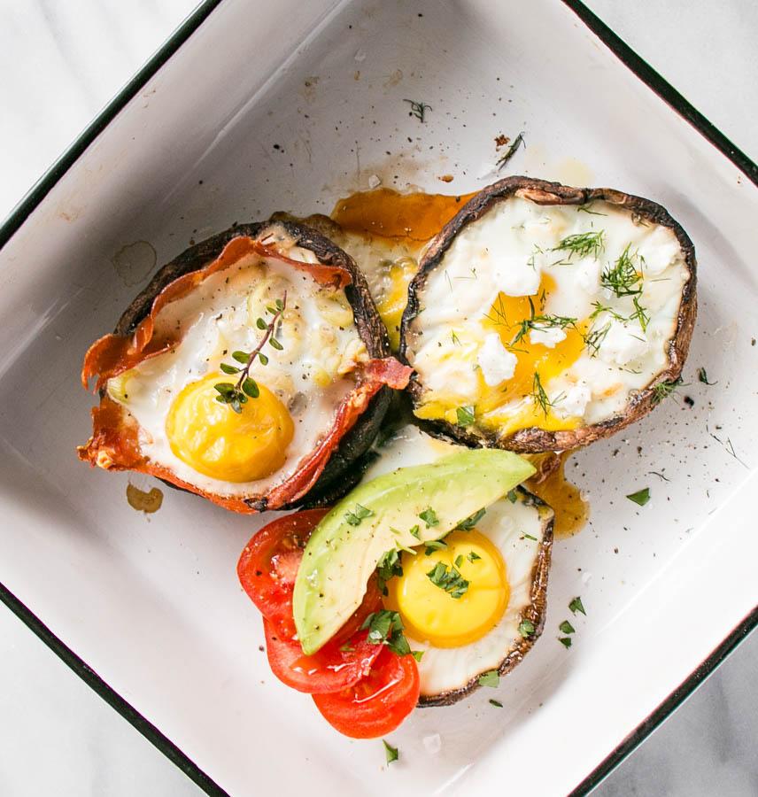 Portobello Mushroom Baked Eggs 3 Ways