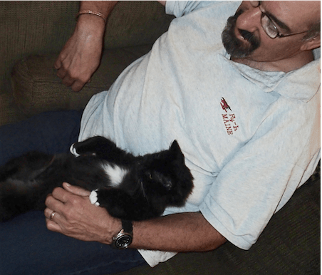 husband with cat