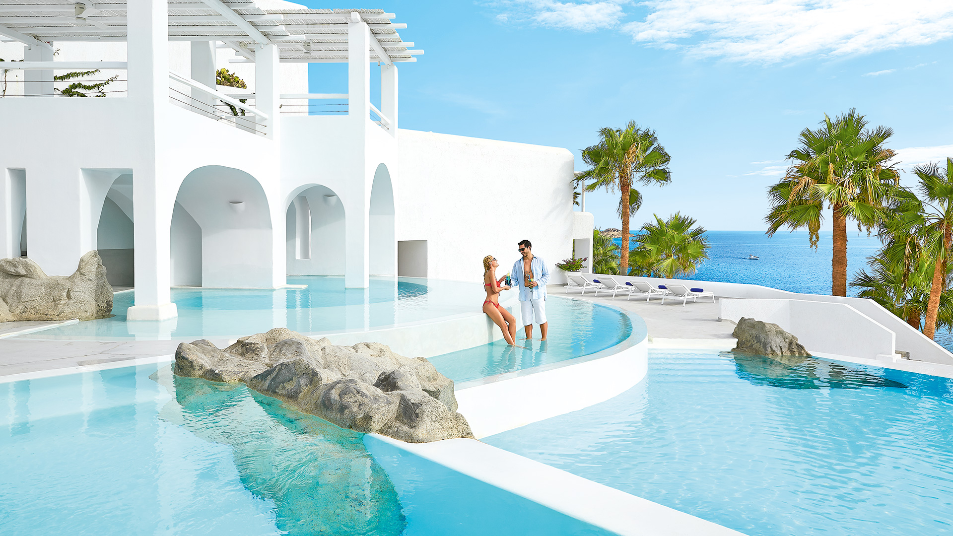 mykonos blu   luxury hotel & resort in mykonos, psarou beach