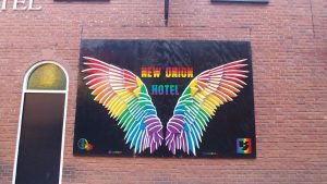Angel Wings aside New Union Hotel, Manchesters Gay Village
