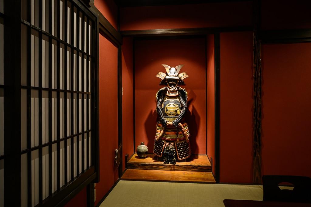 Japanese Samurai armor in the upper Japanese room