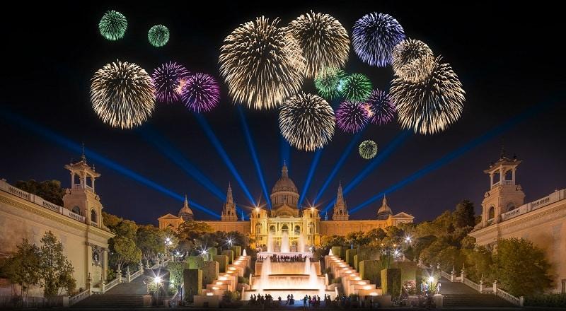 nouvel an Espagne - Barcelone feu d'artifice
