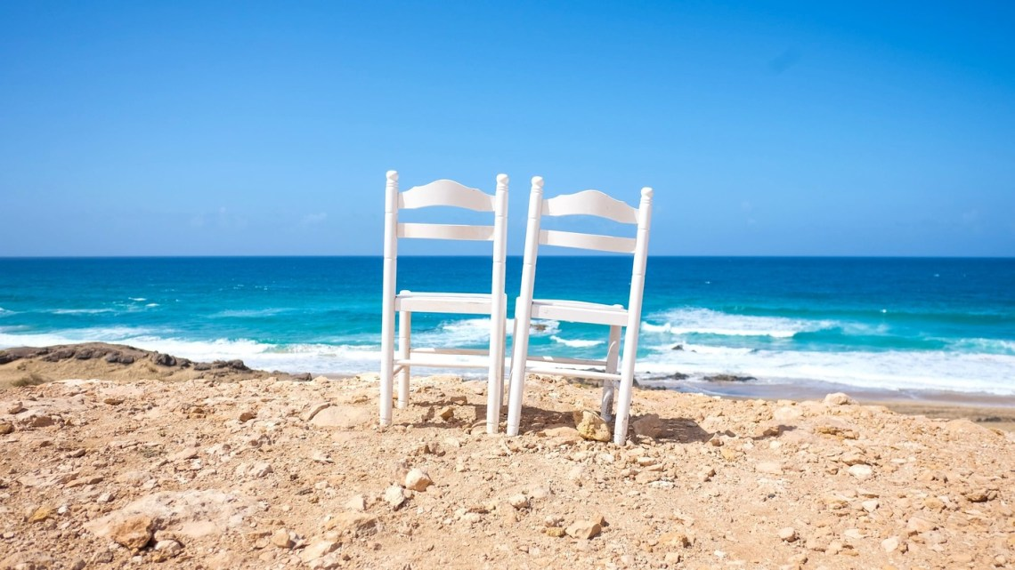 plage chaise couple