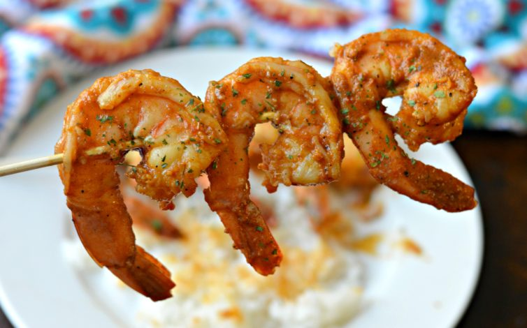 camarones a la diabla - Mexican Spicy Shrimp - on a skewer