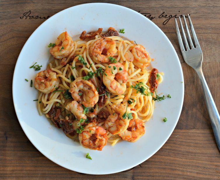 shrimp pasta for dinner