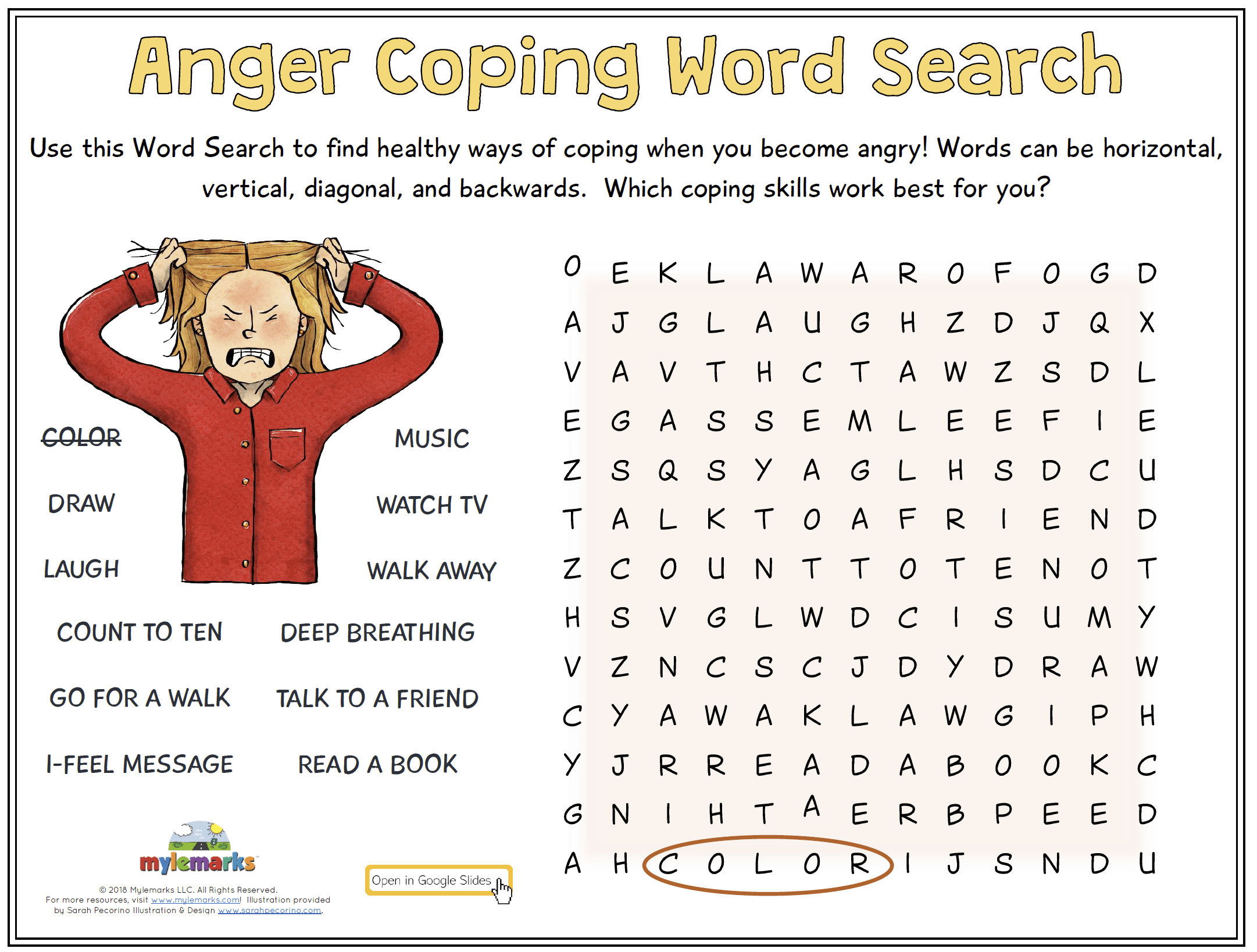 Anger Coping Word Search Gs