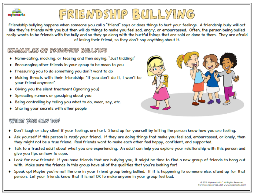 Bullying Worksheets For Kids And Teens